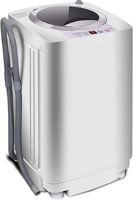 SUPER DEAL Upgraded Portable Full-Automatic Washing Machine Spacious Load Compact Washer Built-in Drain Pump and Long Hose Pro
