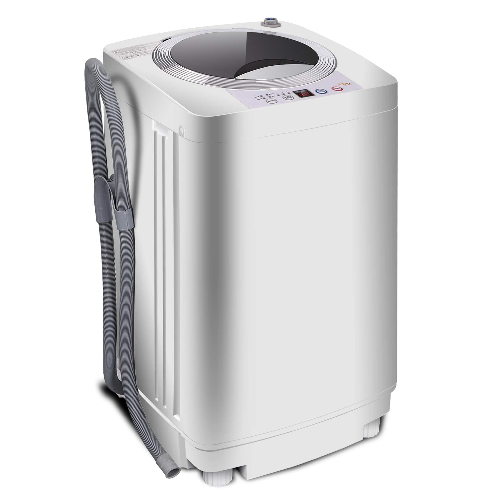 SUPER DEAL PRO Portable Full-Automatic Washing Machine 1.6 Cu. ft. Spacious Load 2in1 Washer&Spinner w/Drain Pump and Long Hose by SUPER DEAL