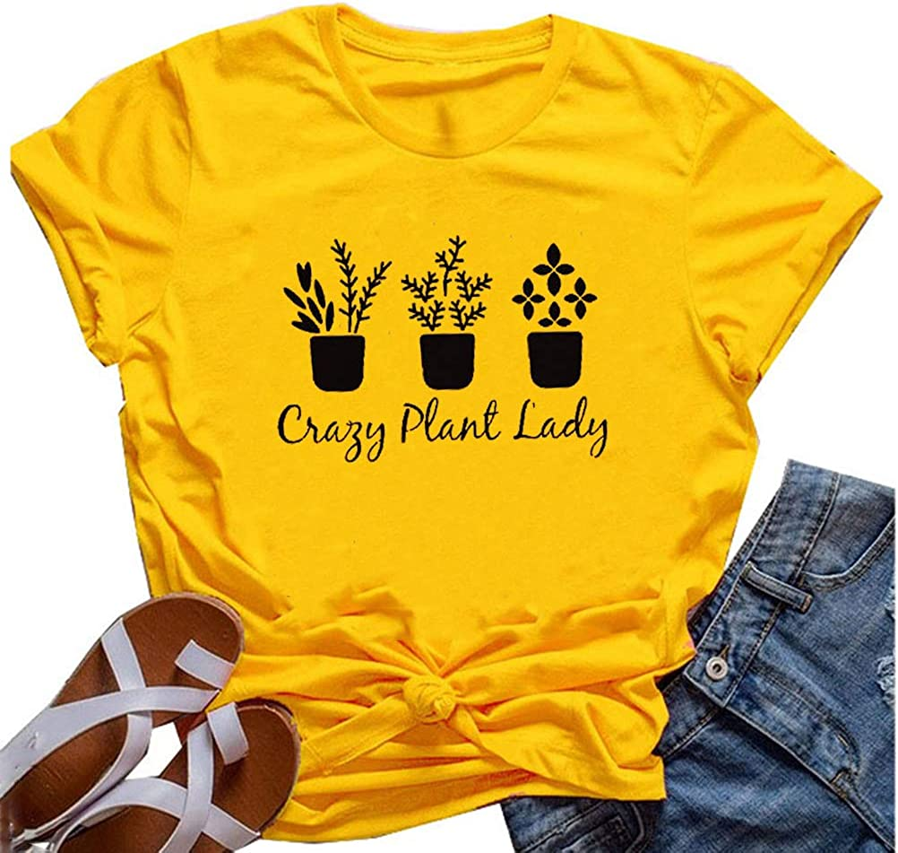 YourTops Women Crazy Plant Lady Graphic T-Shirt