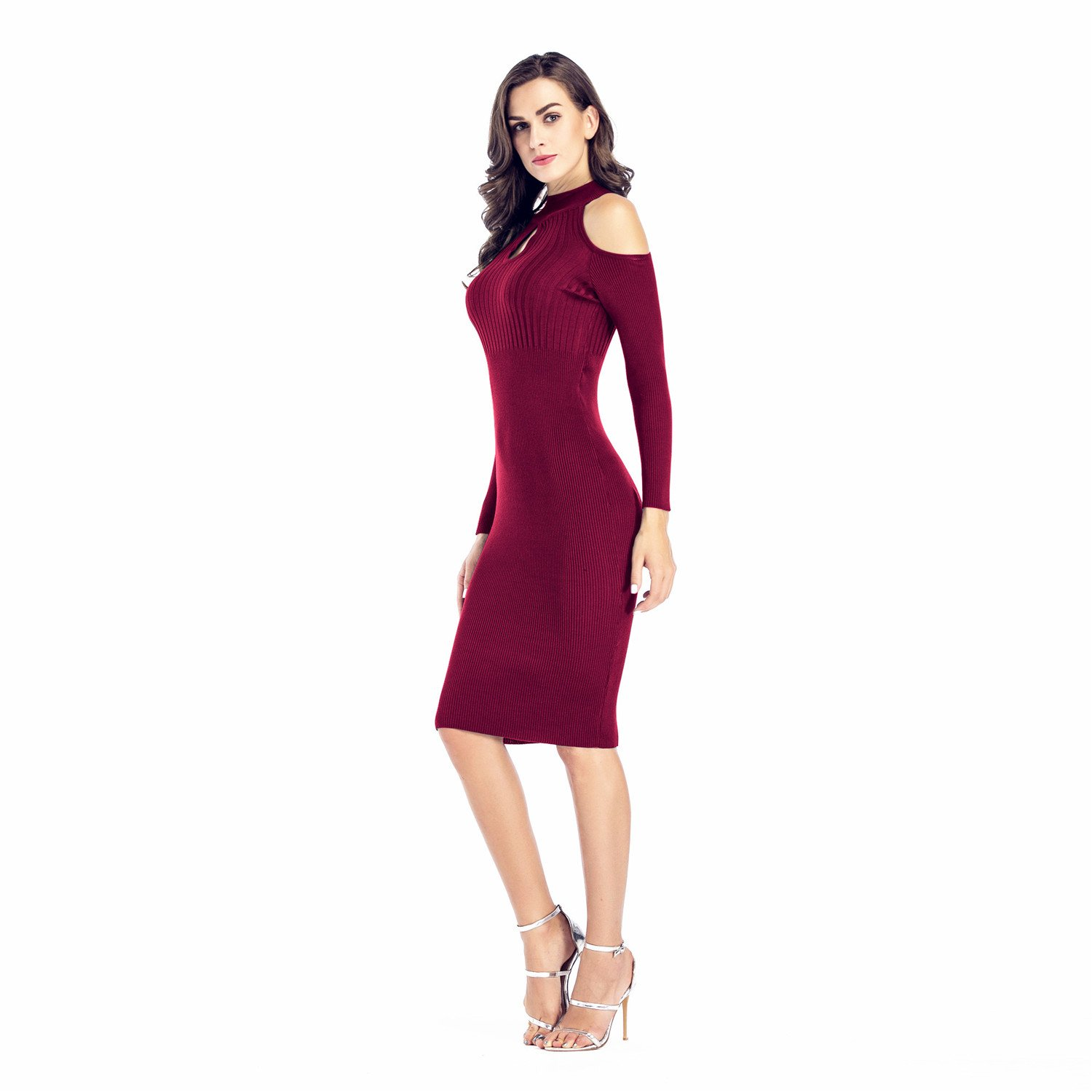 a849b572a88 Arctic Cubic Long Sleeve High Mock Neck Cold Open Shoulder Ribbed Rib Knit  Midi Bodycon Sweater Dress at Amazon Women s Clothing store