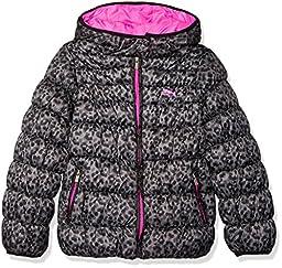 PUMA Little Girls\' Puffer Coat, Judo Grey, 6
