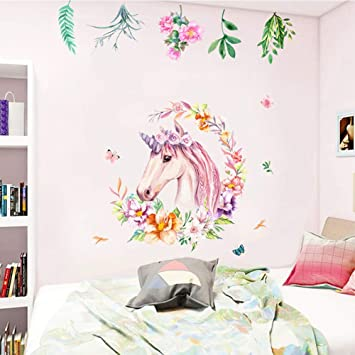 Non Toxic Unicorn Wall Decal Sticker Vinyl Girls Bedroom Wall Décor  Removable Baby Room Wall Mural...