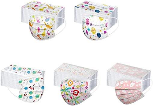 Kids Facemack 3 Ply for Children Disposable Face Bandanas Cute Cartoon Face Protective Kit Breathable Anti-Haze Dust