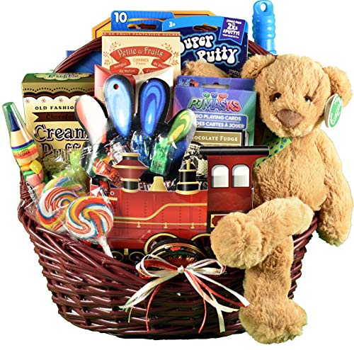 All Aboard, Train Gift Basket for Kids With Candy, Games, Activities, Toys & Plush ()