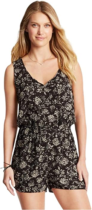 d4d0ecd6afb Amazon.com  Aeropostale Womens Floral Romper Jumpsuit Black S - Juniors   Clothing