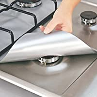 Mk. Park–Conjunto de 4reutilizable de aluminio estufa de gas Foil quemador cubre protector maletero Clean Mat Pad