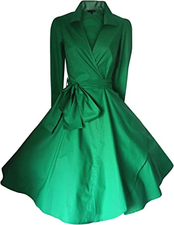 GSHappyGo Womens Solid V-Neck Bowknot Belted Trench Coat Long Sleeve Dress Green US 2