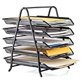 Halter Steel Mesh 5-Tier Shelf Tray Organizer for Desktop - Letter-Size - Black