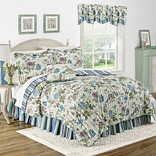 (WAVERLY 12581BEDDTWNLKS Charleston Chirp Noir Reversible Quilt Collection, Twin, Larkspur )