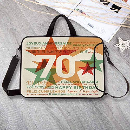 """(70th Birthday Decorations Wear-Resisting Neoprene Laptop Bag,World Global Birthday Congrats with Abstract Stars Laptop Bag for Laptop Tablet PC,17.3""""L x 13""""W x)"""