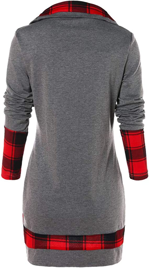 Women Plus Size Sweatshirt Jumper Mingfa Fashion Turn-Down Collar Button Plaid Long Sleeve Pullover Tunic Tops Blouse