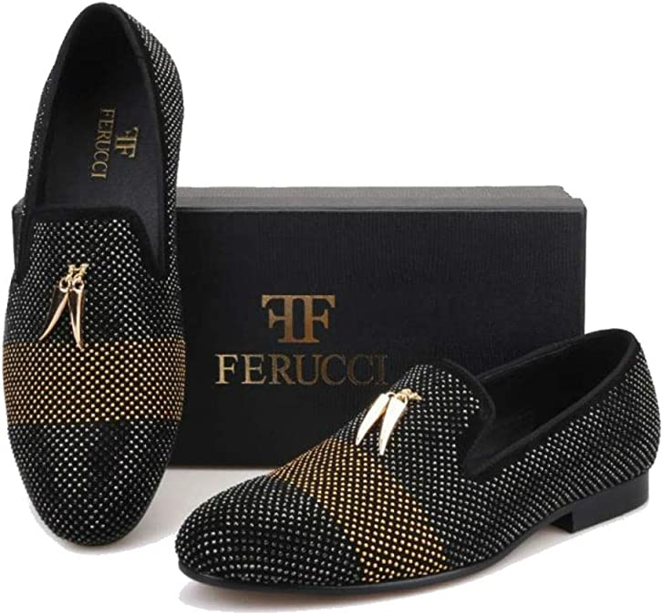 FERUCCI Men Black Slippers Loafers Flat with Crystal GZ Rhinestone and Shark Tooth