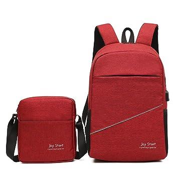 Mochila de Viaje para Ordenador portátil con Puerto de Carga USB, Impermeable, Dos Piezas (Color: Rojo): Amazon.es: Electrónica