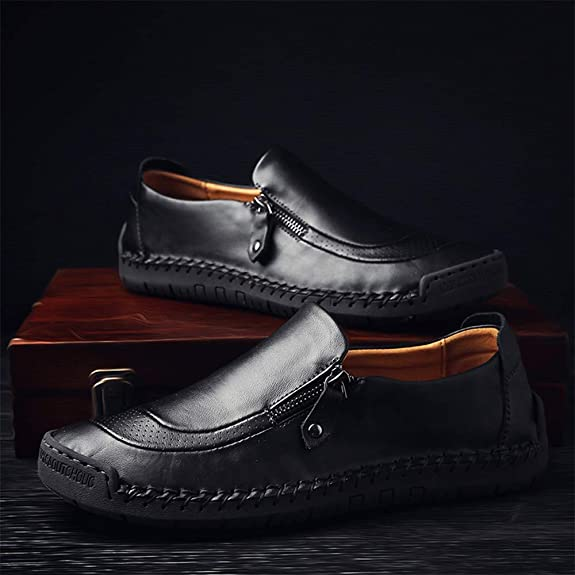 JEBU Mens Handmade Zipper Casual Leather Work Driving Non-Slip Slip-on Loafers Adjustable Shoes