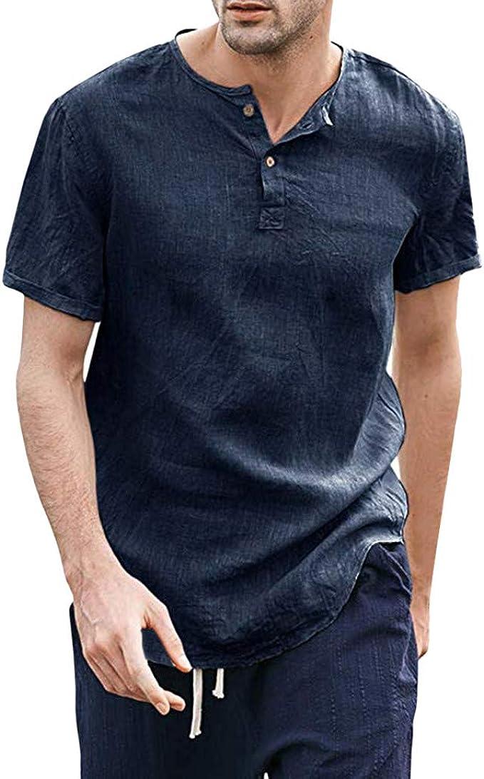 YEBIRAL Camisetas Hombre Manga Corta Casual Algodón y Lino ...