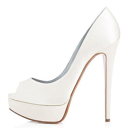 MerMer Sexy Zapatos de tacon Alto Blanco con plataforma y poca de pez de Moda para