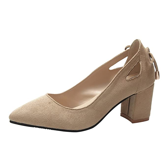 Darringls_Zapatos para Mujer,Zapatillas Fashion Women Sandal Pointed Toe Ankle High Heels Party Jobs Flock Single Shoes: Amazon.es: Ropa y accesorios