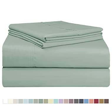 Pizuna 400 Thread Count Sage Full Sheet Set, 100% Long Staple Cotton Soft Sateen Bed Sheets Deep Pocket fit Upto 15 inch (Sea Foam Full Cotton Sheets)