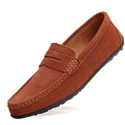TSIODFO Men's Driving Penny Dress Loafers Suede Leather Driver Moccasins Slip On Shoes | Loafers & Slip-Ons
