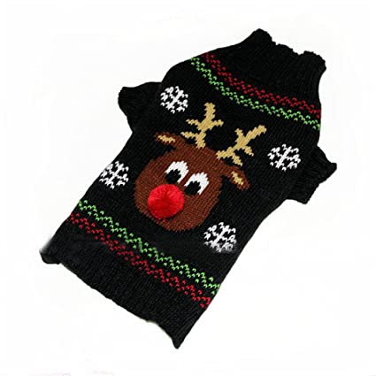4c28c01d1bf66 Amazon.com   HOTER Latest Cute Warm Cable Knit Pet Dog Sweater Deer ...