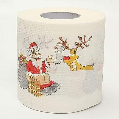 Askdasu Papel higiénico de Papá Noel con dibujos de Papá Noel impresos, rollo de papel higiénico, decoración de sala de estar, Papeles de Papá Noel: Industria, empresas y ciencia