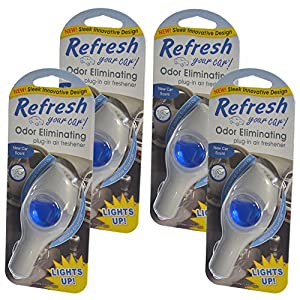 Refresh Your Car Odor Eliminating refillable Power Plug-In Lights Up Air Freshener, New Car (Pack of 4)