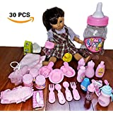 "PRlME-DAY Doll Feeding Set & Bath Doll Accessories, 30 Pc. Baby Doll Bottles, Doll Food Bowls & Utensils, Doll Hair Brush, Diaper, Doll Pacifiers, 18"" American Girl Dolls, In Baby Bottle Gift Package"