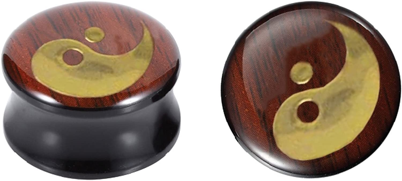 26mm BodyJ4You Yin Yang Saddle Plugs Acrylic Ear Gauges 2G 2 Pieces