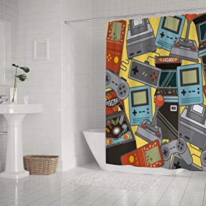 LifeCustomize Classic Videogames Pattern Decorative Shower Curtain 60x72 Inch Polyester Waterproof Kids Bathroom Curtain with Hooks