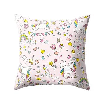 display08 - Funda de almohada o cojín con motivo de unicornio, decoración para el hogar, poliéster, 13#, 17.72