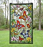 20'' X 34'' Large Tiffany Style Stained Glass Window Panel Butterfly Garden Flower