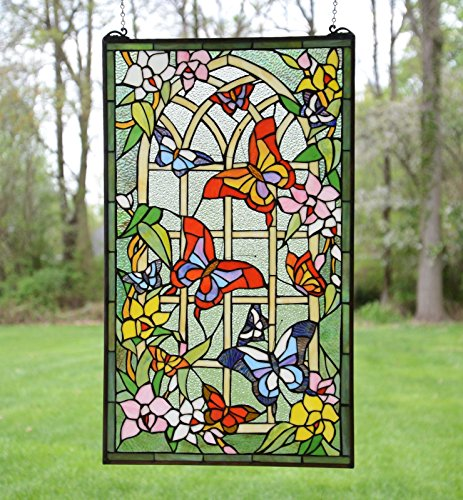 20'' X 34'' Large Tiffany Style Stained Glass Window Panel Butterfly Garden Flower by Stain Glass Panel
