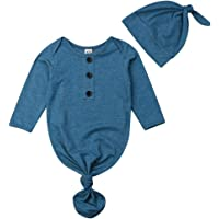 MoryGooder Newborn Boys Girls Coming Home Outfit Cotton Nightgowns Unisex Solid Color Sleepwear with Pacifier Clip