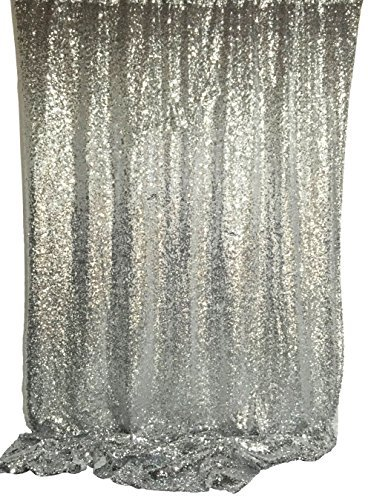 Cheapest Prices! Langxun 4.3ft X 8.5ft Silver Shimmer Sequin Fabric Photo Booth Backdrop Sequin Curt...