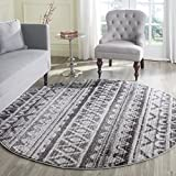 Safavieh Adirondack Collection ADR119N Ivory and Charcoal Modern Bohemian Round Area Rug (6′ Diameter) For Sale