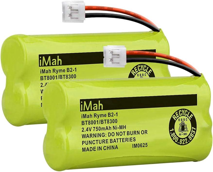 iMah BT800 BT8300 2.4V 750mAh Cordless Phone Batteries Compatible with VTech CS6209 CS6219 CS6229 DS6121 DS6221 AT&T BT18433/BT28433 BT184342/BT284342, Pack of 2