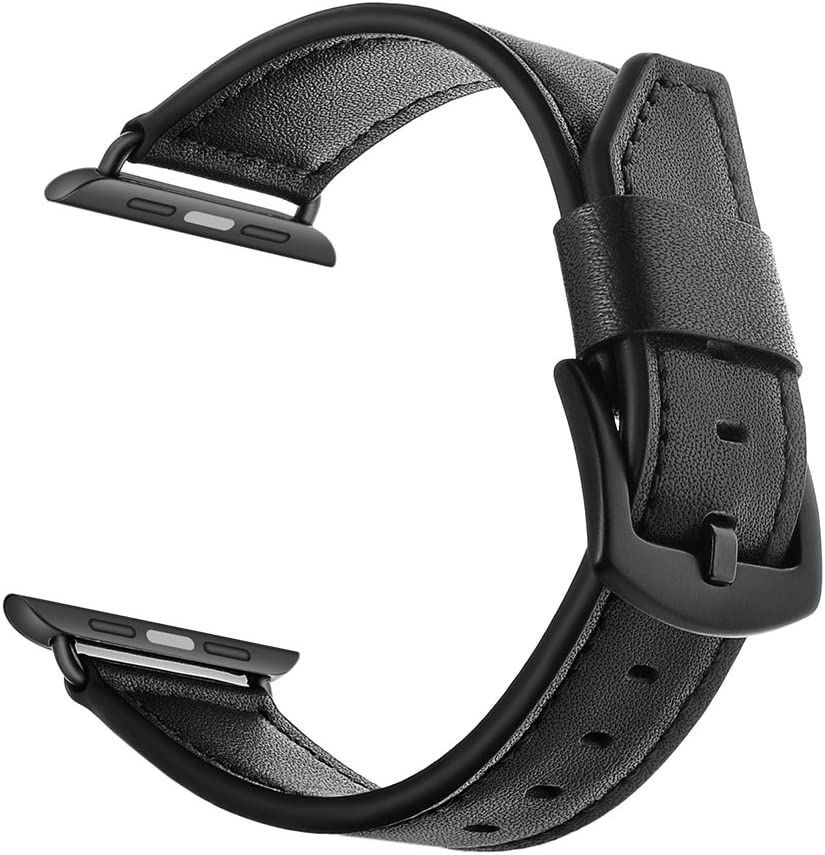 YoChYi Correa, Cola de Cuchillo Cuero Hebilla Negra Banda de Repuesto 38mm 40mm 42mm 44mm Compatible con Apple Watch Series 4 3 2 1 (38mm, Negro)
