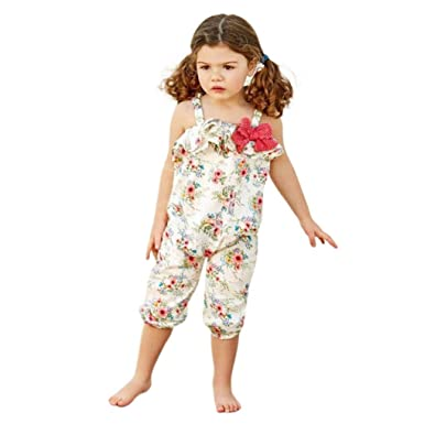 2afcbc0c8f6 Wesracia Cute Kids Baby Girls Bowknot Flower Print Overalls Jumpsuit Pants  Summer Outfits (80