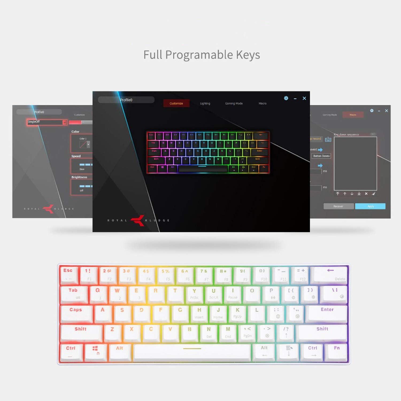 Mechanical Gaming White Keyboard Wireless Bluetooth Keyboards 61 Keys RGB Backlit,Black Keyboard,Brown Switch