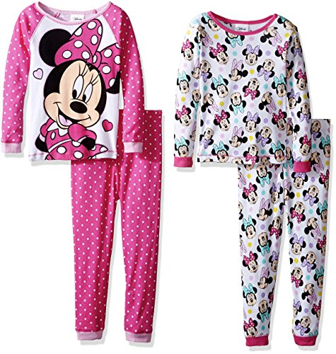 Disney Little Girls' Toddler Minnie Mouse 4-Piece Cotton Pajama Set, Pink/White, 4T (Long Girls Pajamas Toddler Sleeve)