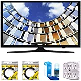 Samsung Flat 40'' LED 1920x1080p 5 Series Smart TV 2017 Model (UN40M5300AFXZA) with 2x 6ft High Speed HDMI Cable Black, Universal Screen Cleaner for LED TVs & SurgePro 6-Outlet Surge Adapter