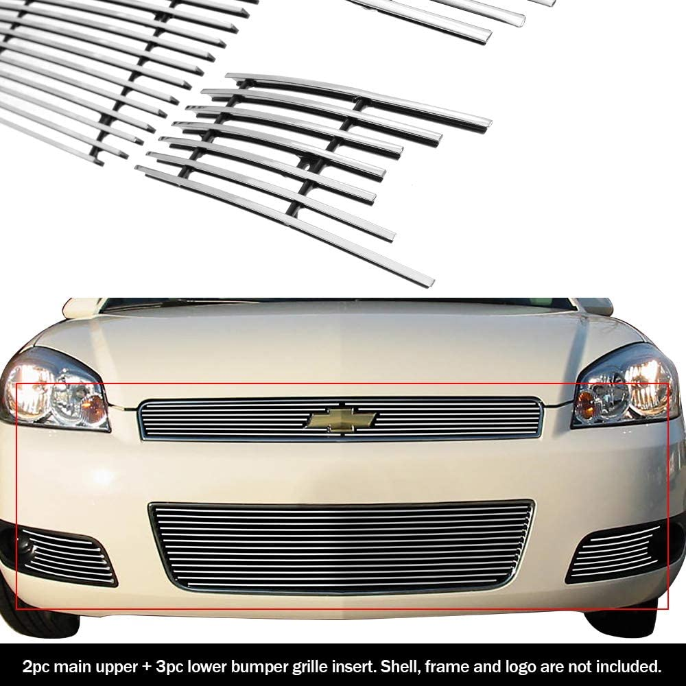 APS Compatible with 2006-2013 Chevy Impala Black Billet Grille Grill Insert Combo C67920H