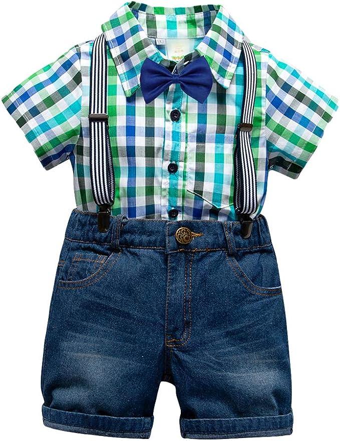 Lvguang Traje de 4 Piezas para Niños Camisa de Manga Corta a Cuadros & Pantalones Cortos de Mezclilla Casual & Tirantes para Niños & Pajarita para Niños: Amazon.es: Ropa y accesorios