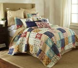 Levtex Home Jasmin Quilt Set, King, Brown, Orange, Navy, Red Patchwork