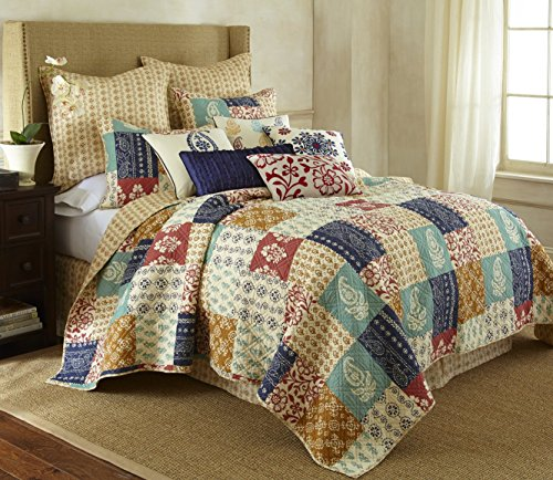 Levtex home Jasmin Quilt Set, Full/Queen, Brown, Orange, Navy, Red Patchwork by Levtex home