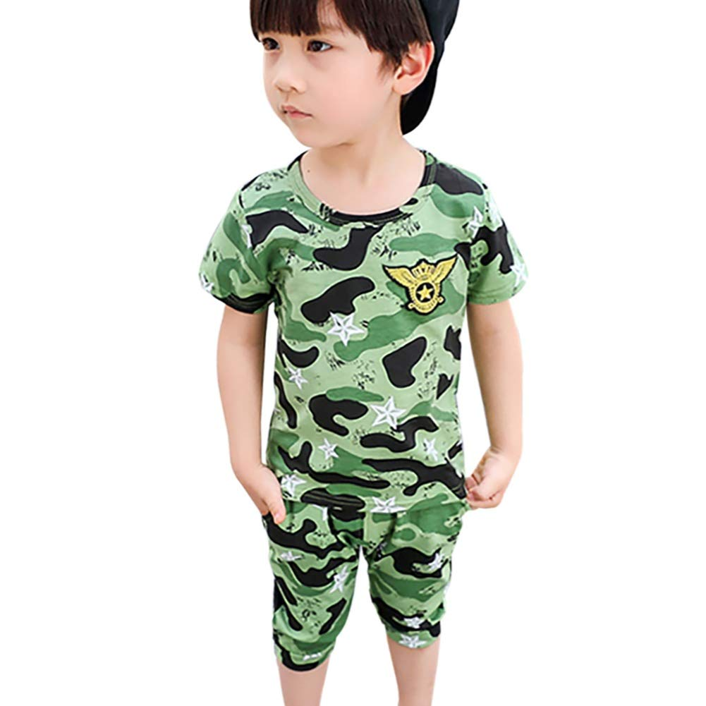 BOBORA Baby Boys Summer 2PCs Clothes Set Short Sleeved Camouflage T-Shirt Tops with Shorts Sports Suit Outfits