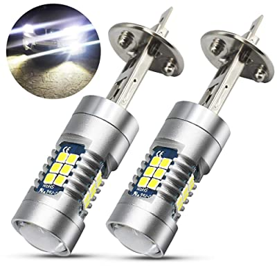 Boodlied 9-30V H1 LED Fog Light Bulbs High Power 3030 21SMD Chipsets 6000~6500K 1800LM LED Bulbs For Fog Lights or DRL Lights.Xenon White.(2-Pack).: Automotive
