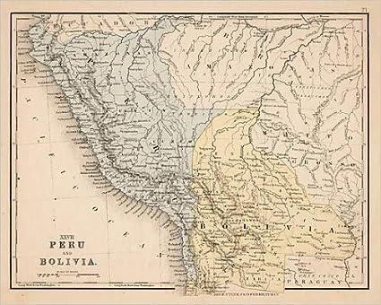 Amazon.com: 10x8 Print of Peru Bolivia map 1867 (13609197): Posters ...