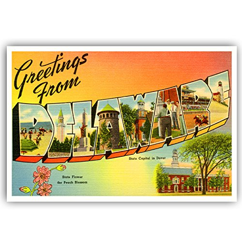 GREETINGS FROM DELAWARE vintage reprint postcard set of 20 identical postcards. Large letter US state name post card pack (ca. 1930's-1940's). Made in USA.