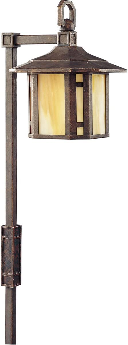 Progress Lighting P5272-46 Craftsman Mission One Light Landscape from Arts and Crafts Collection Dark Finish, 5-1 2-Inch Width x 28-3 4-Inch Height, Weathered Bronze